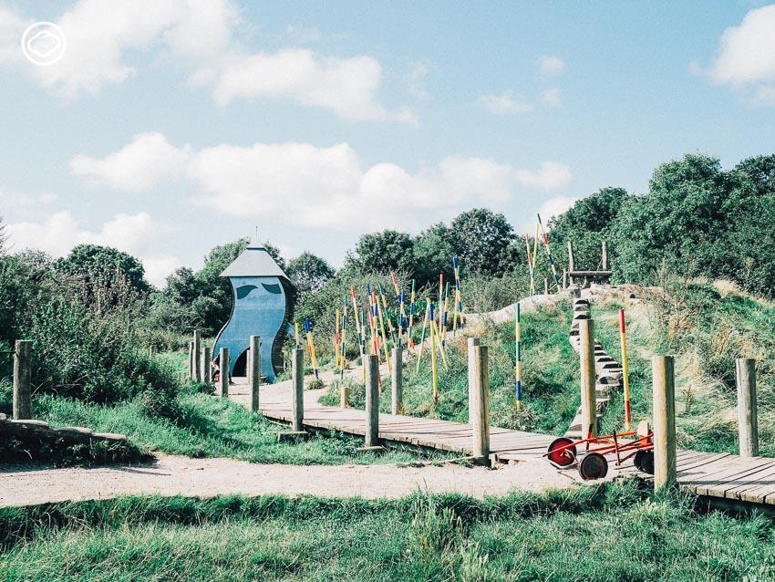 สนามเด็กเล่น, สวนสาธารณะ, เด็ก, ต่างประเทศ, โคเปนเฮเกน, เดนมาร์ก, ชื่นใจ ภูมิรัตน, Valby Nature Playground, เขา, ฤดูร้อน, หอคอย