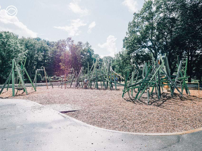 สนามเด็กเล่น, สวนสาธารณะ, Parkleken Draken, Drakenbergsgatan Park, ต้นไม้,