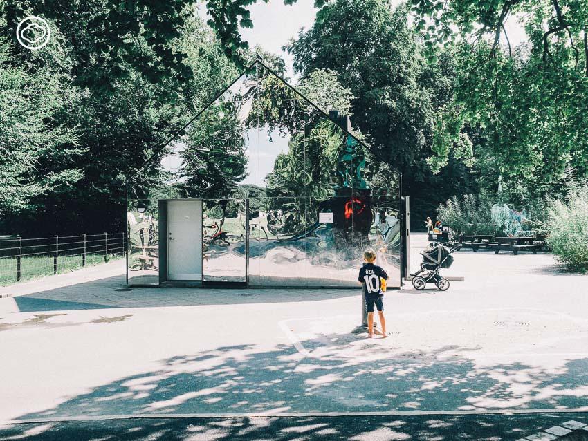 สนามเด็กเล่น, กระจกเงา, ต้นไม้, เด็ก, สวนสาธารณะ