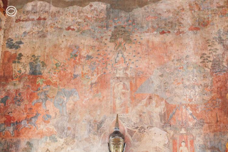 ฮูปแต้มหรือจิตรกรรมฝาผนังภายในหอพระพุทธบาท