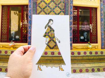 ชุดภาพถ่ายของการเดินทางพร้อมตุ๊กตากระดาษที่ไปเติมลวดลายเสื้อผ้าด้วยวิวทั่วไทยเอาดาบหน้า