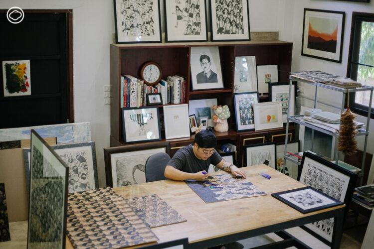นทีพล เจริญธุระยนต์ ศิลปินเชียงใหม่ผู้นำมังงะมาโลดแล่นบนภาพพิมพ์แกะไม้, Details Studio Art Gallery and Bistro
