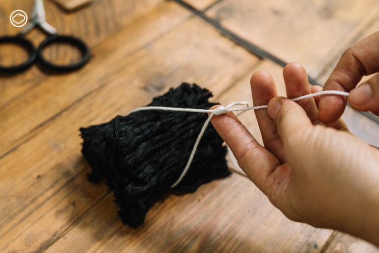 วิธีถัก Macrame, วิธีถักมาคราเม่ ใส่ต้นไม้, ทำกระถางแขวนต้นไม้จากตาข่ายห่อผลไม้และเชือก ด้วยวิชา Macrame กับ รยางค์ระวิง สตูดิโอ