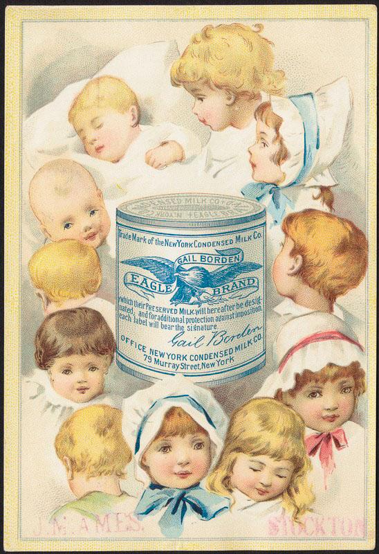 โปสเตอร์โฆษณานมข้นโบราณ จะเห็นว่ามีความสำคัญต่อเด็กๆ มากนะ