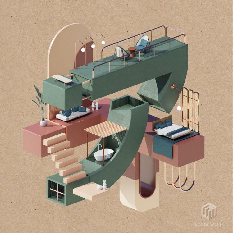 WORA_WORK อินทีเรียดีไซเนอร์ผู้แหวกขนบงานออกแบบภายในด้วยภาพ 3 มิติและแอนิเมชัน