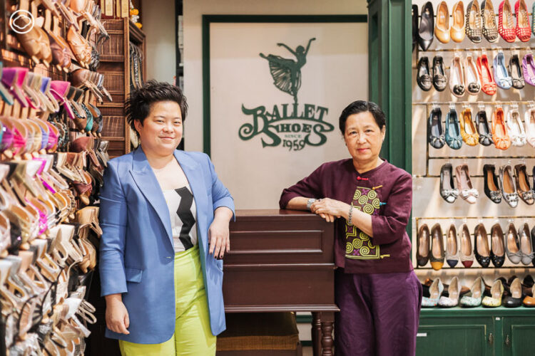 คุณแม่จริยา คงเดชะกุล และ จ๋า-พรชนก คงเดชะกุล ทายาทรุ่นสองและทายาทรุ่นสาม Ballet Shoes