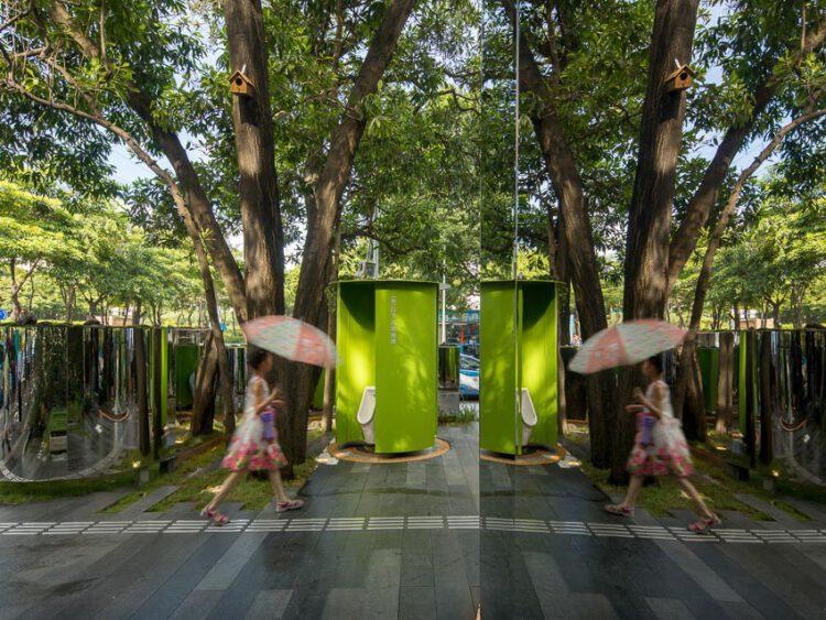 NO-BOUNDARY Toilet เมืองจีนสร้างห้องน้ำสาธารณะในสวน โดยไม่ตัดต้นไม้สักต้น