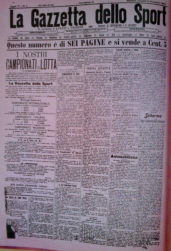 หนังสือพิมพ์ La Gazzetta dello Sport ฉบับตีพิมพ์ในกระดาษสีชมพูเป็นครั้งแรก ภาพ : it.wikipedia.org/wiki/La_Gazzetta_dello_Sport#/media/File:Gazzetta_Sport_2-1-1899.jpg